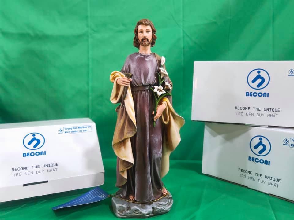 Tượng Thánh Giuse Bế Chúa 45 cm Tượng Thánh Giuse Hoa Huệ 25 cm Tượng Công Giáo đẹp