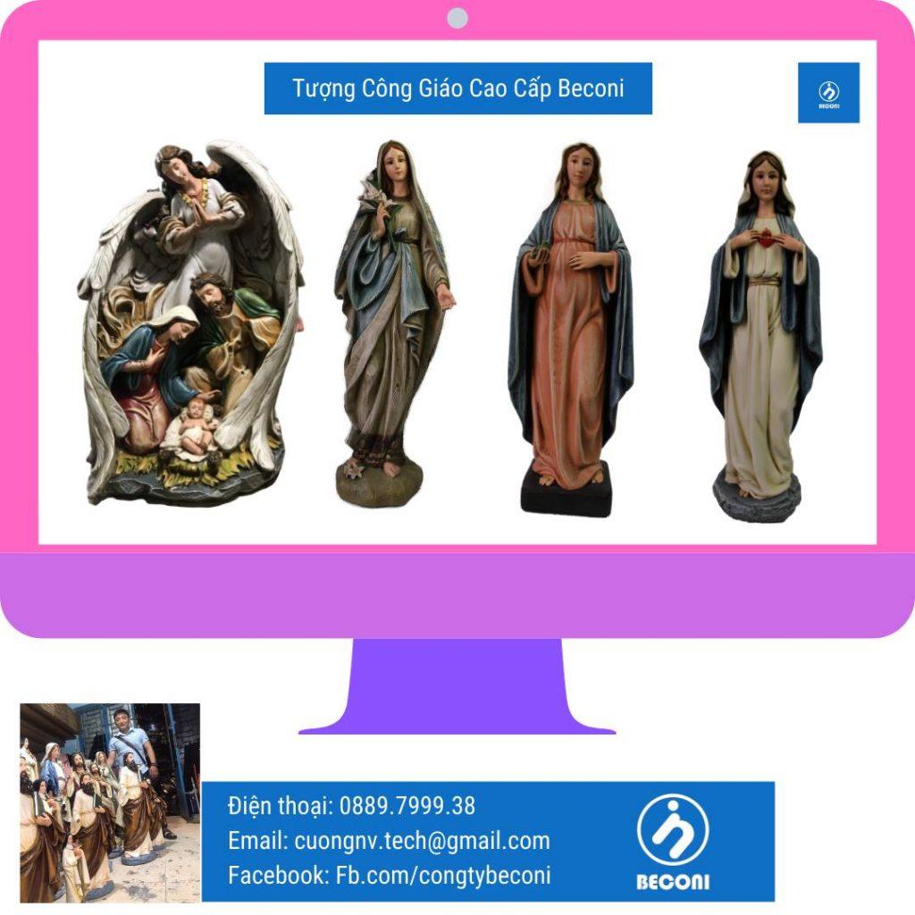 Tượng Thiên Thần Giáng Sinh Điêu khắc Tượng Công Giáo bằng nhiều loại vật liệu khác nhau tại Beconi. Vật liệu đá, xi măng, resin, composite, polyresin, resin, đá, ngọc quý & bán quý.