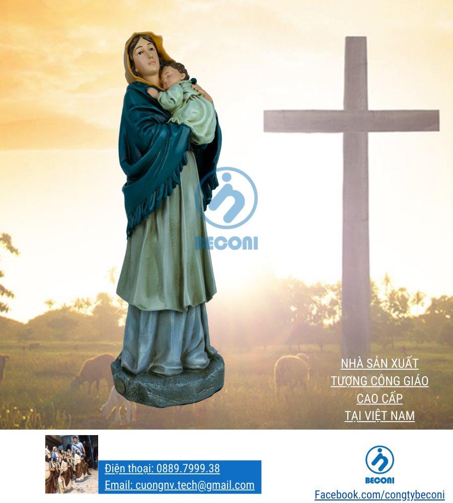 Tượng Đức Mẹ Bế Chúa - sản xuất tại Beconi Việt Nam
