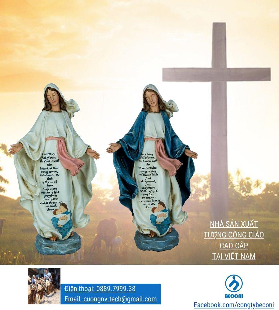 Tượng Đức Mẹ Ban Ơn vẽ màu xanh và màu trắng - sản xuất tại Beconi Việt Nam