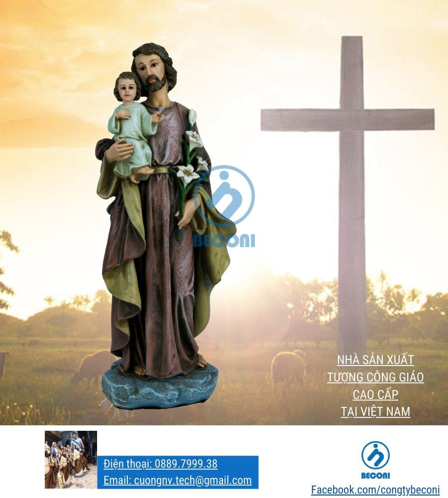 Tượng thánh giuse bế chúa đẹp beconi - Tượng công giáo
