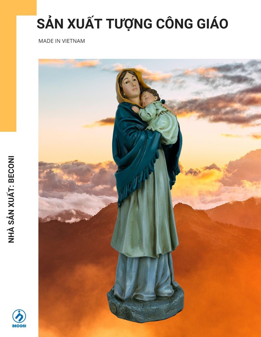 Tượng Đức Mẹ Bế Chúa Beconi – Tượng đẹp/ Vẽ màu thủ công/ BH 7 năm.