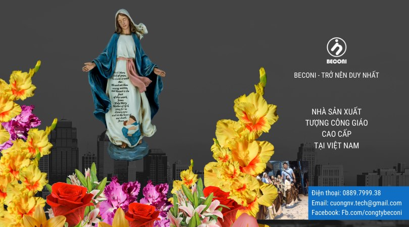 Tượng Đức Mẹ Ban Ơn tại Beconi vẽ màu xanh