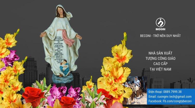 Tượng Đức Mẹ Ban Ơn Tại Beconi vẽ màu trắng