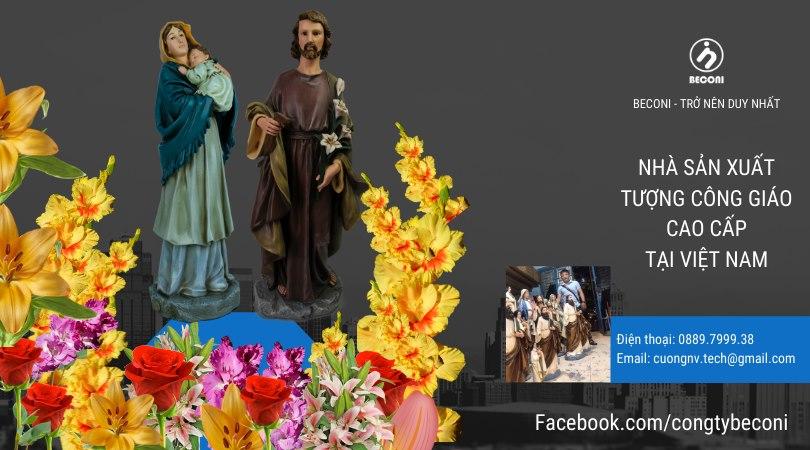 Tượng Đức Mẹ Bế Chúa- Tượng Thánh Giuse Hoa Huệ - Beconi