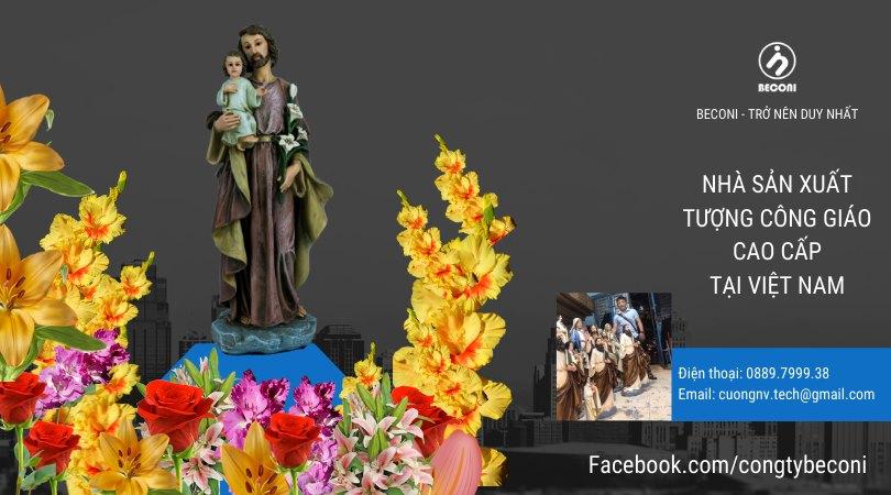 Tượng Thánh Giuse Bế Chúa – Beconi – Cổ Điển Phục Hưng.