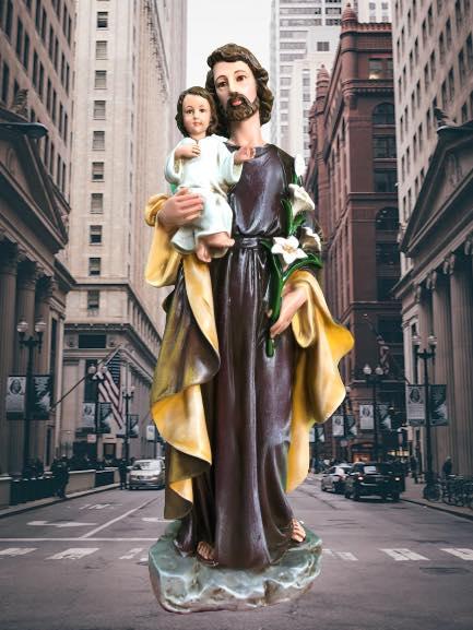 Tượng Thánh Giuse Hoa Huệ – T. Giuse Bế Chúa cổ điển đẹp