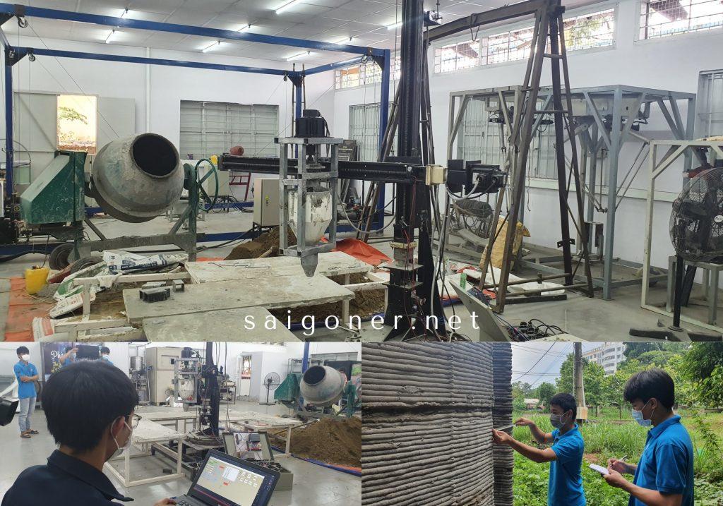 Một nhóm sinh viên tại Trường Đại Học Sư Phạm Kỹ Thuật Thành phố Hồ Chí Minh (  Ho Chi Minh City University of Technology and Education ) đã nghiên cứu thiết kế, chế tạo robot in 3d (máy in 3d) vật liệu bê tông. Đây là máy in 3D bê tông đầu tiên tại Việt Nam tính đến thời điểm hiện tại, với mong muốn tạo ra một giải pháp trọn gói hữu ích hỗ trợ cho ngành xây dựng tại Việt Nam.