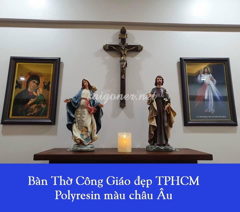 Bàn Thờ Công Giáo đẹp TPHCM – Polyresin màu châu Âu